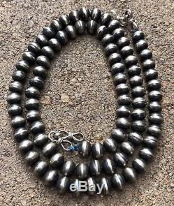 Vtg Old Navajo Native American Sterling Silver 8mm Pearl Bench Bead Necklace 26