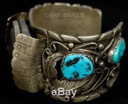 Vtg Old PAWN Navajo Sterling Mens Melvin Thompson HEAVY Turquoise Watch Bracelet