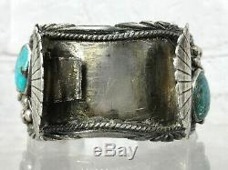 Vtg Old Pawn Navajo Sterling Silver Turquoise Coral Watch Cuff Bracelet Signed
