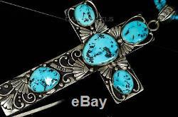 Vtg Old Pawn Navajo T Singer 7 Natural Turquoise HUGE Cross Pendant Enhancer