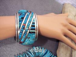 Vtg Pete Sierra Turquoise Coral Onyx Cobblestone Sterling S Cuff Bracelet 194.1G