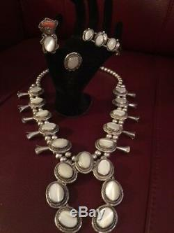 Vtg SS Navajo Mother of Pearl Squash Blossom Necklace + 2 Rings+Bracelet