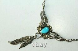Vtg Sterling Marked C Yazzie Turquoise Navajo Leaf Feather Necklace Fnc