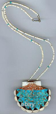 Vtg Zuni Indian Heishi Bead Inlaid Turquoise Coral Onyx Mosaic Shell Necklace