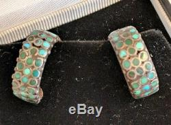 Vtg Zuni Native American Frank Dishta Channel Inlay Turquoise Hoop Earrings