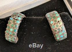 Vtg Zuni Native American Frank Dishta Channel Inlay Turquoise Hoop Earrings