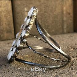 Vtg Zuni Sterling Silver MOP Multi Stone Inlay Cardinal Bird Wide Cuff Bracelet