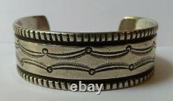 Weighty Vintage 1920's Navajo Indian Ingot Silver Cuff Bracelet