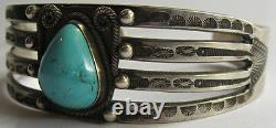 Weighty Vintage Navajo Indian Silver Whirling Logs Turquoise Cuff Bracelet