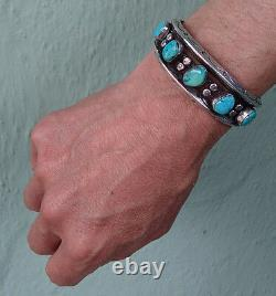 Weighty Vintage Navajo Indian Weighty Silver Turquoise Men's Cuff Bracelet