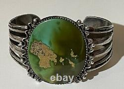 Wide 1930's Vintage Navajo Indian Silver Huge Green Turquoise Cuff Bracelet