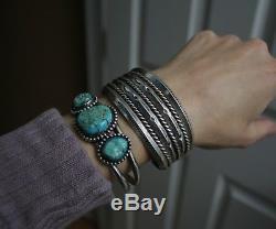 Wide Heavy Vintage Navajo Native American Sterling Silver Cuff Bracelet