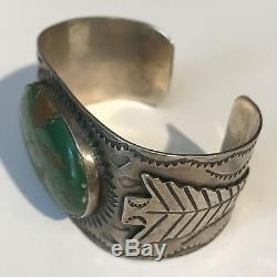 Wide Vintage 1930's Navajo Indian Silver Green Turquoise Arrowhead Cuff Bracelet