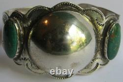Wide Vintage Navajo Indian Sterling Dome Center Green Turquoise Cuff Bracelet