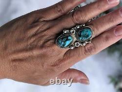 Women's Vintage Navajo Kingman Turquoise Ring Native American Jewelry sz 10