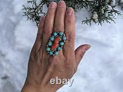 Womens Vintage Navajo Turquoise Cluster Ring Native American Jewelry sz 10.5
