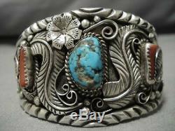 Wonderful Vintage Navajo Blue Diamond Turquoise Sterling Silver Bracelet Old