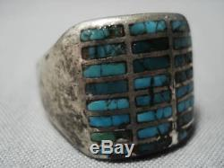 Wonderful Vintage Navajo Sterling Silver Turquoise Inlay Ring Old