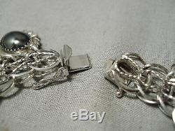 Wonderful Vintage Navajo Zuni Turquoise Mexican Sterling Silver Charm Bracelet