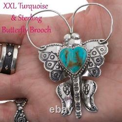 XL Squash Blossom Necklace Pendant BUTTERFLY Brooch Joe Eby Sterling Silver