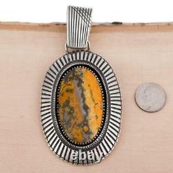 XL Squash Blossom Necklace Pendant Calvin Martinez BUMBLE BEE JASPER Ingot