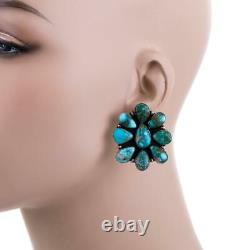 XL Turquoise Earrings NATURAL Sterling Silver BIG CLUSTER Native American Post
