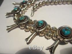 Xfine Hand Tooled Vintage Navajo Sterling Naja Turquoise Squash Blossom Necklace