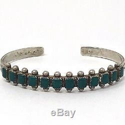 Zuni Cuff Bracelet Harvey Era Square Turquoise 12g 6.5in Sterling Silver VTG