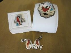 Zuni Native America Sterling Silver Red Bird Cardinal Inlay Pendant Ring Earring