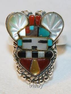 Zuni Vintage 925 Sterling Silver Horned Kachina Ring Signed Sybil Cachini Size 6