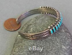 Zuni Vintage Silver Needle Point Blue Green Turquoise Row Cuff Bracelet Sm Wrist